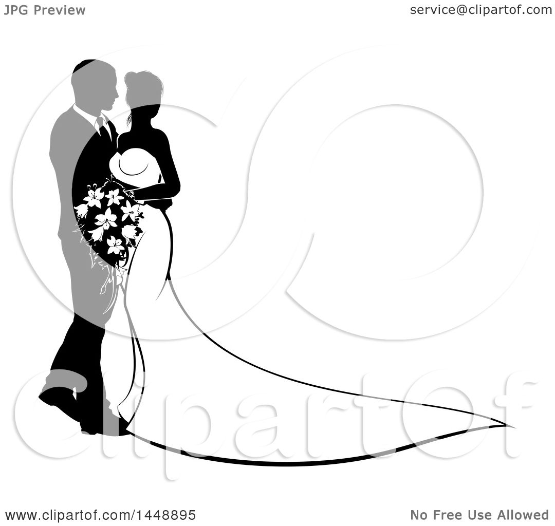 Clipart Of A Black And White Silhouetted Posing Wedding