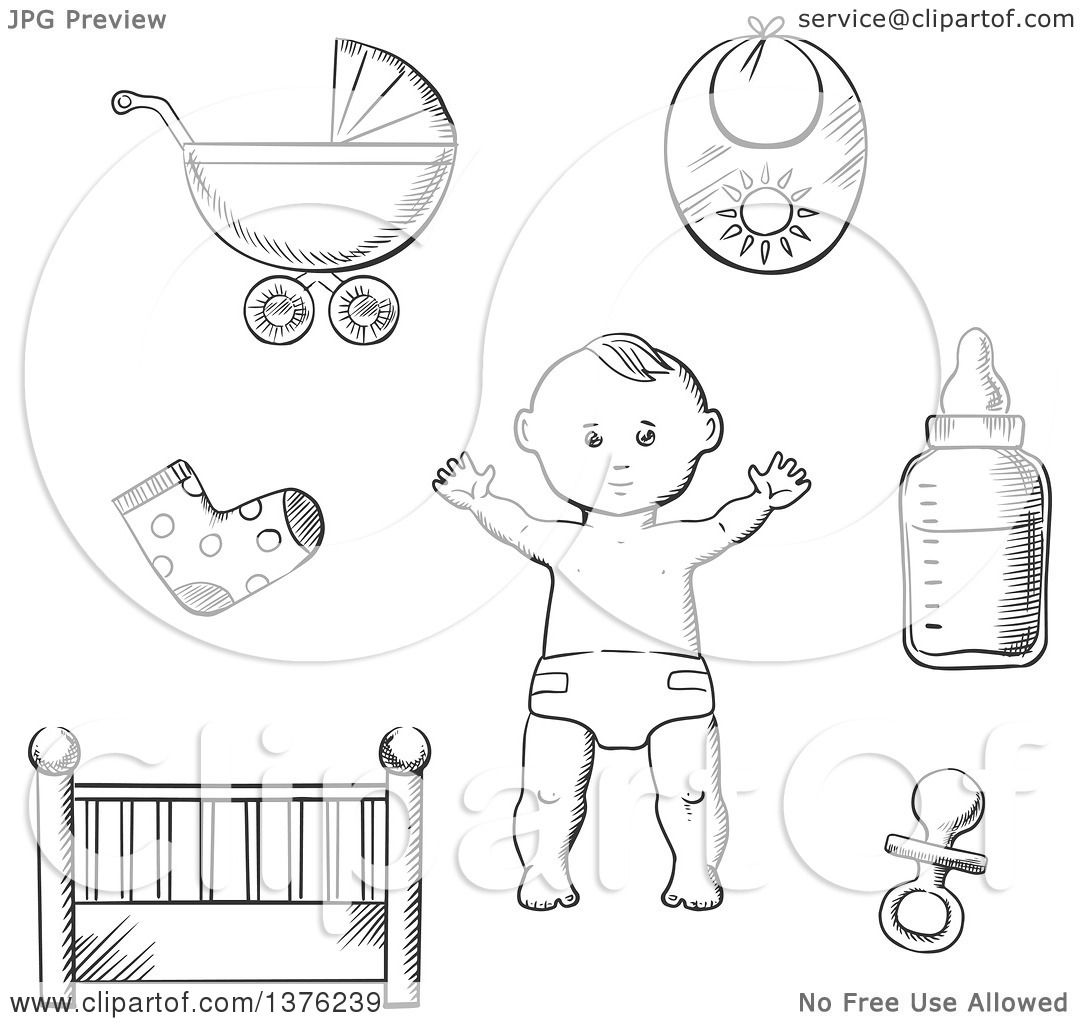 Clipart Of A Black And White Sketched Baby In A Nappy Encircled By A Cot Crib Pushchair