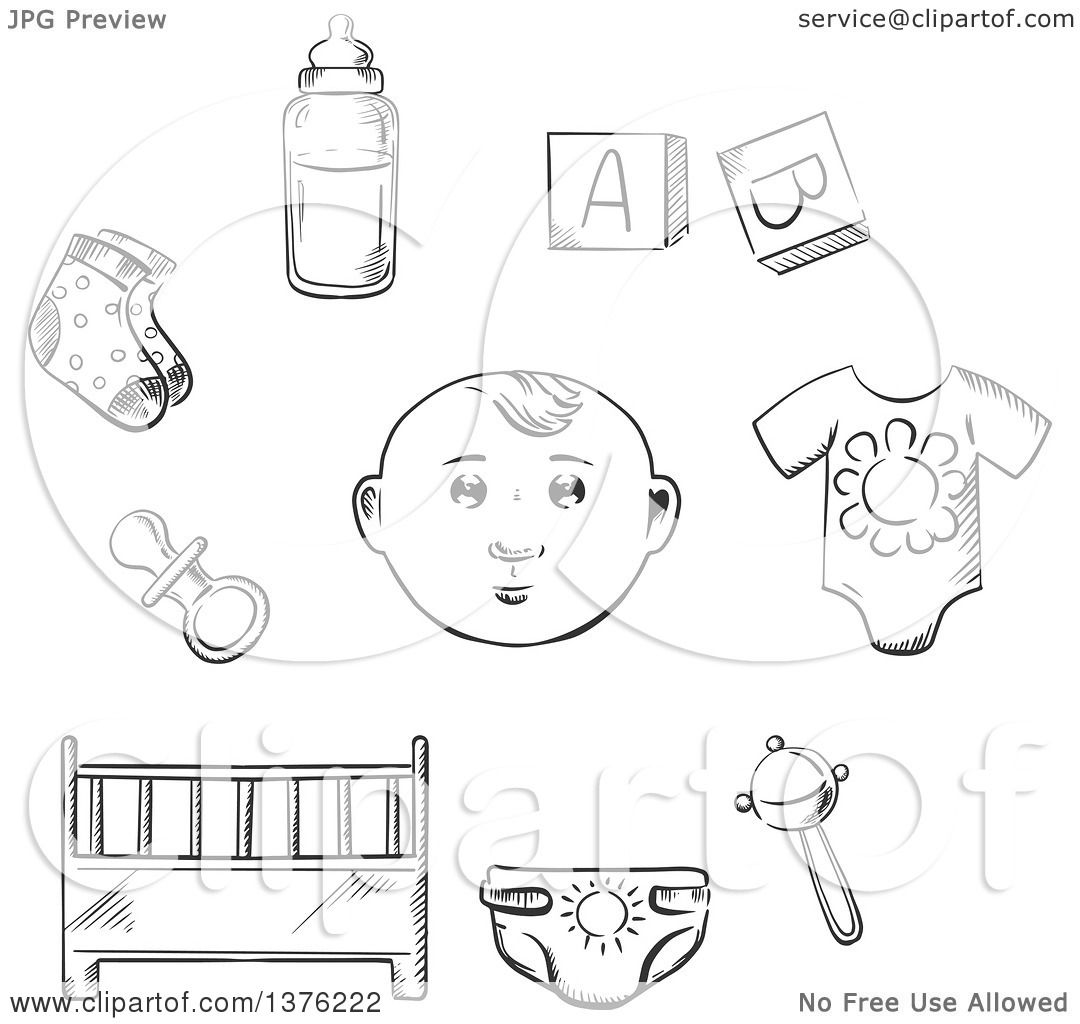 Clipart Of A Black And White Sketched Baby Rib Pacifier