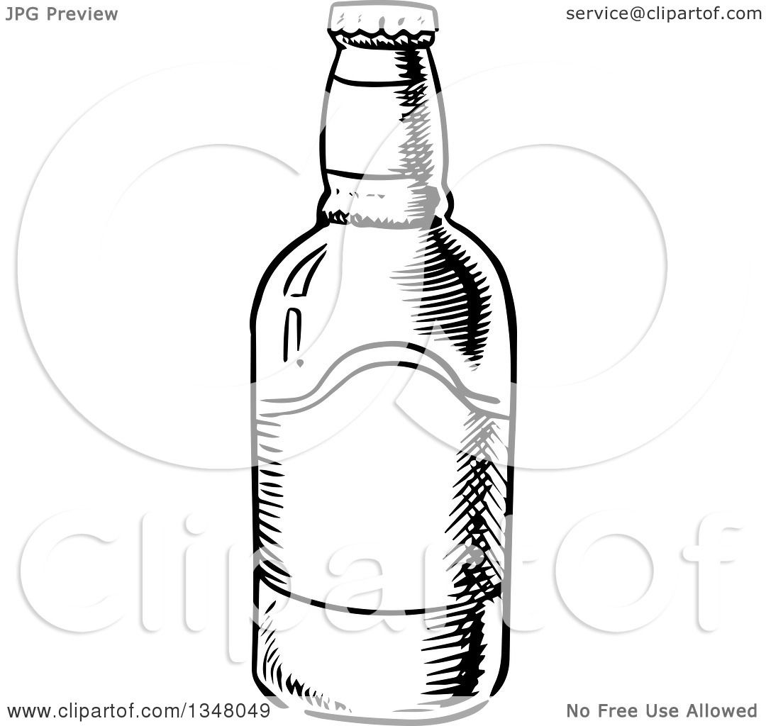 Clipart Of A Black And White Sketched Beer Bottle