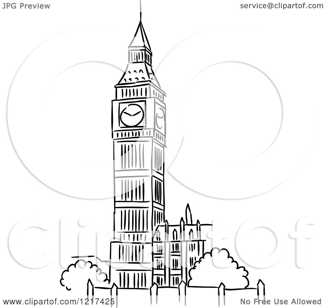 Clipart Of A Black And White Sketched Big Ben Clock Tower
