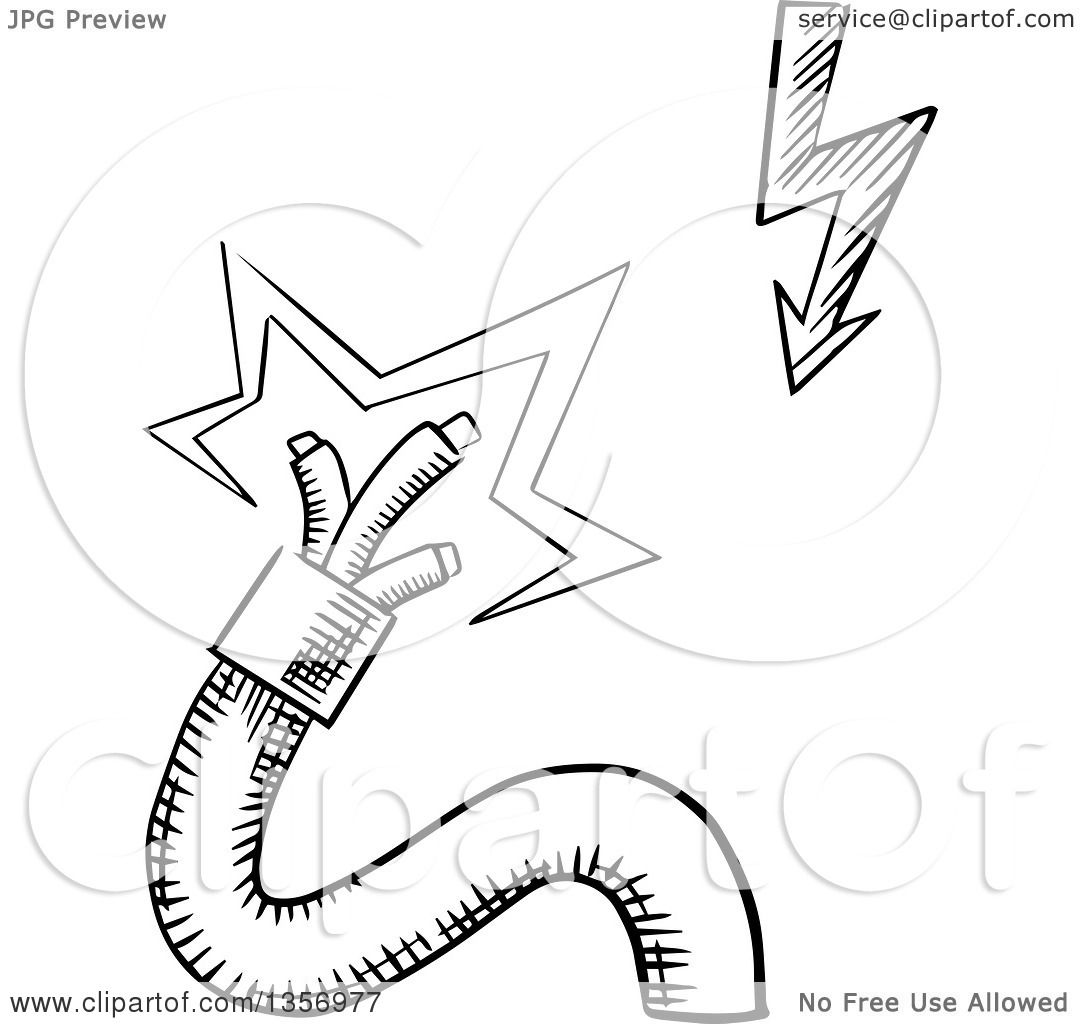 Clipart Of A Black And White Sketched Broken Electrical