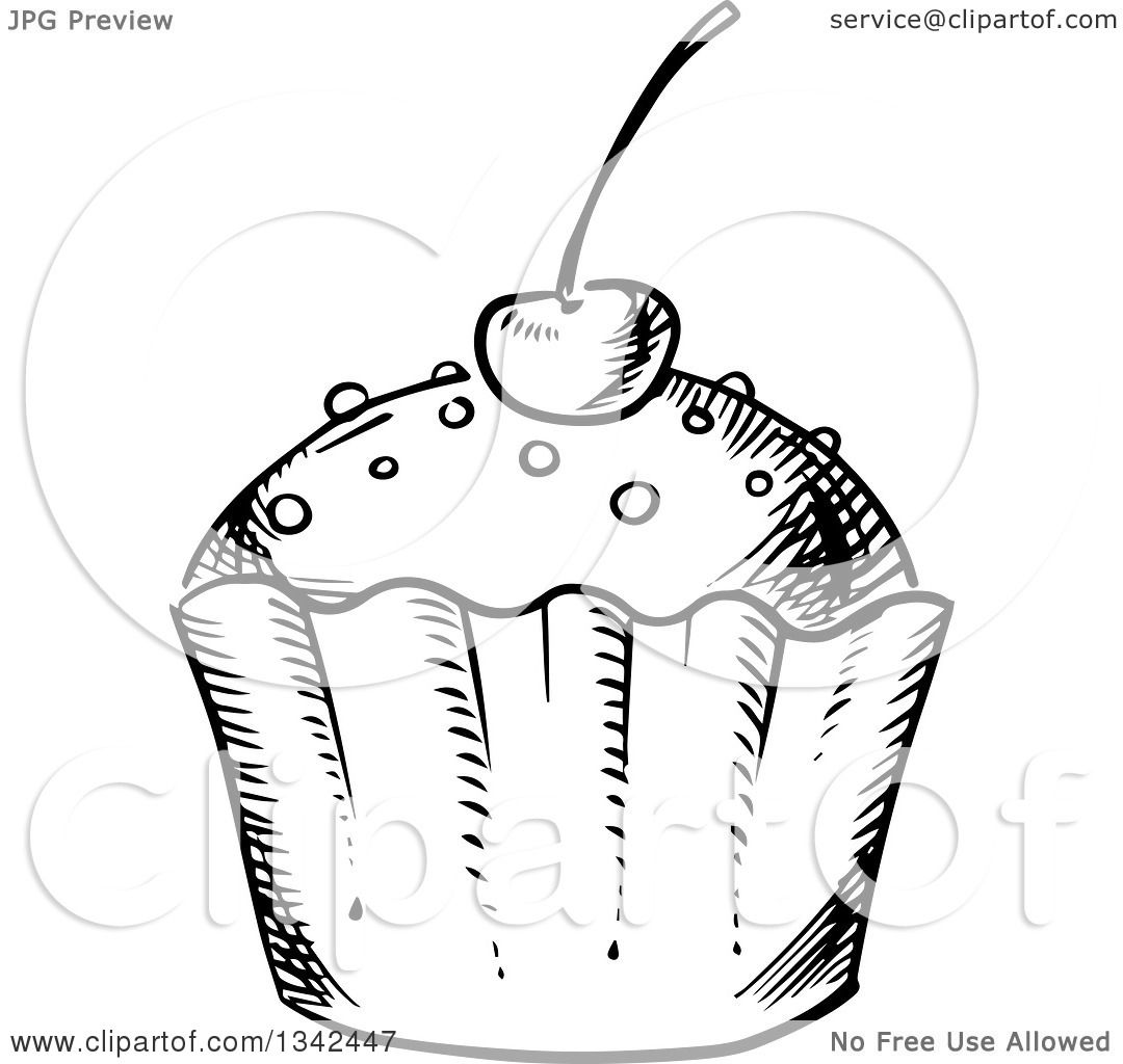 Clipart Of A Black And White Sketched Cupcake Topped With