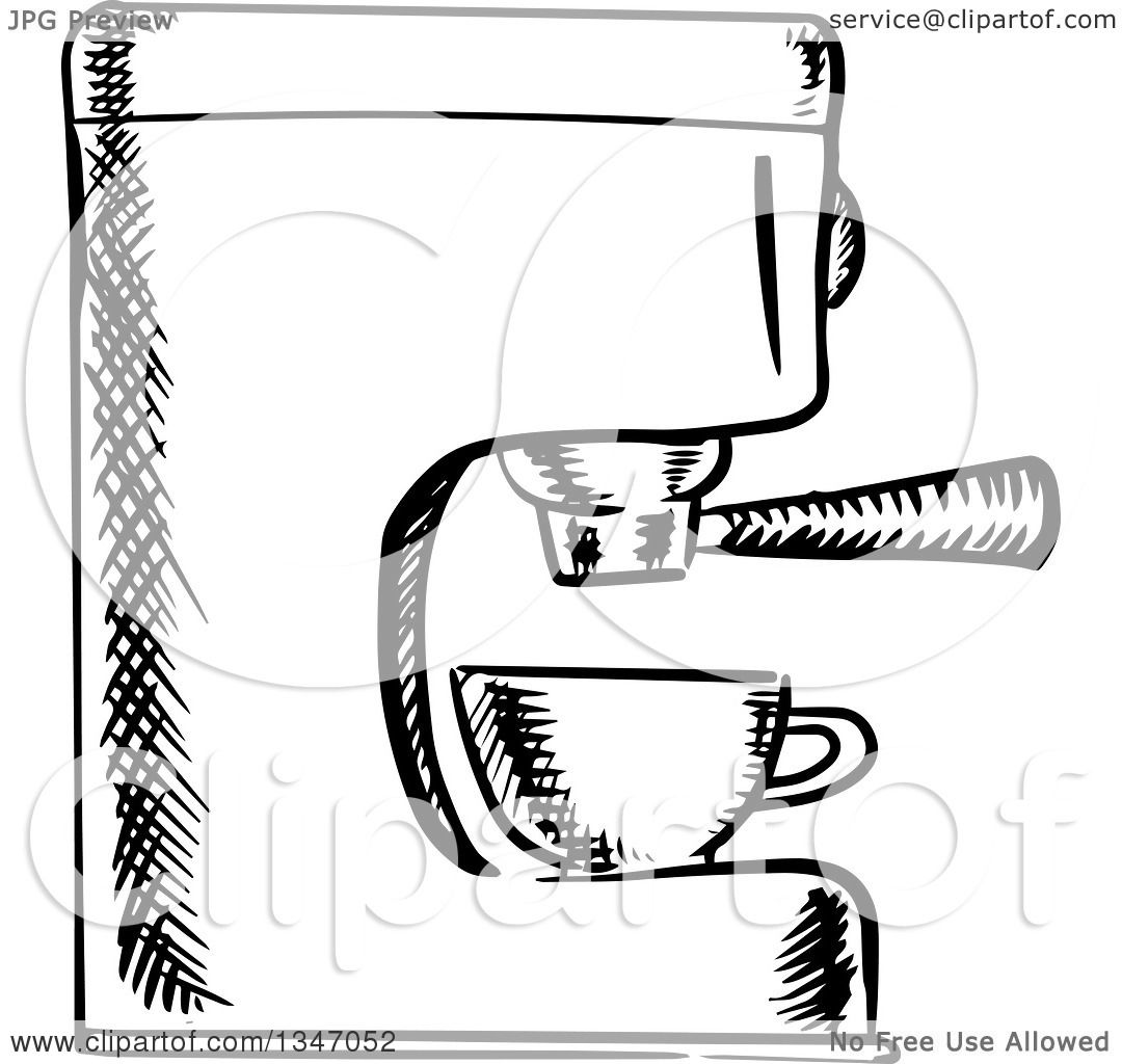 Clipart Of A Black And White Sketched Espresso Coffee