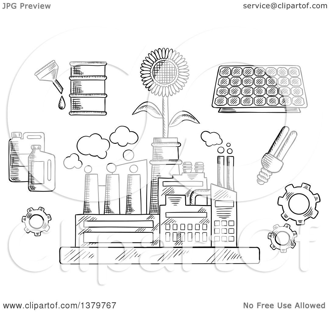 Clipart Of A Black And White Sketched Factory Plant With