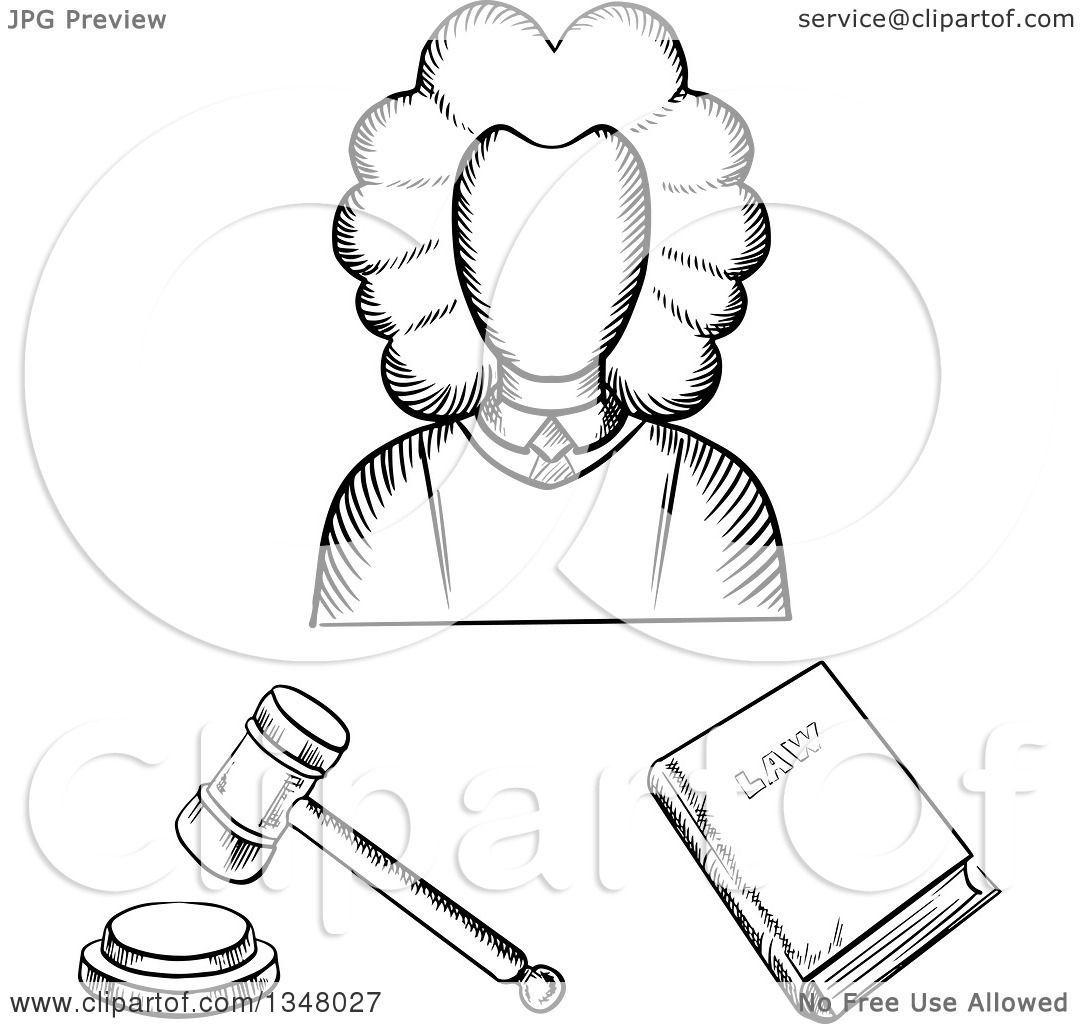 Clipart Of A Black And White Sketched Female Judge Law