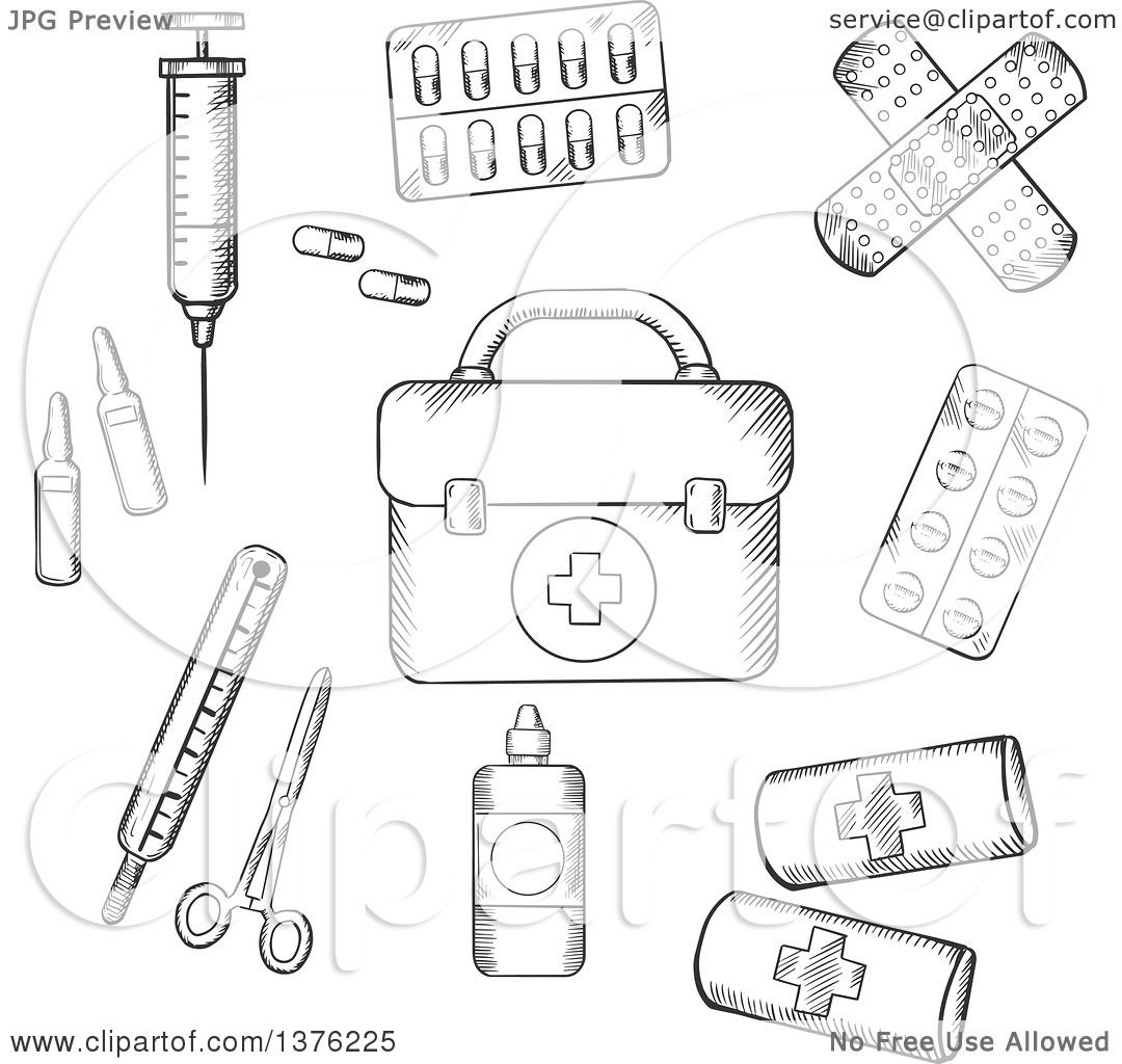 Clipart Of A Black And White Sketched First Aid Kit