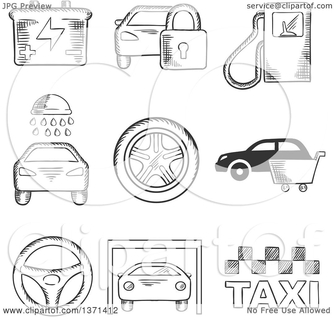 Clipart Of A Black And White Sketched Fuel Pump Security