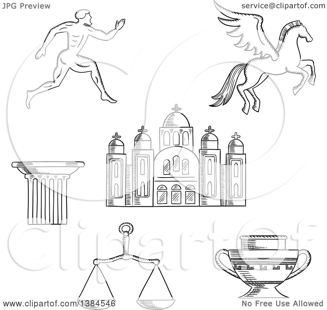 Clipart Of A Black And White Sketched Greek Runner