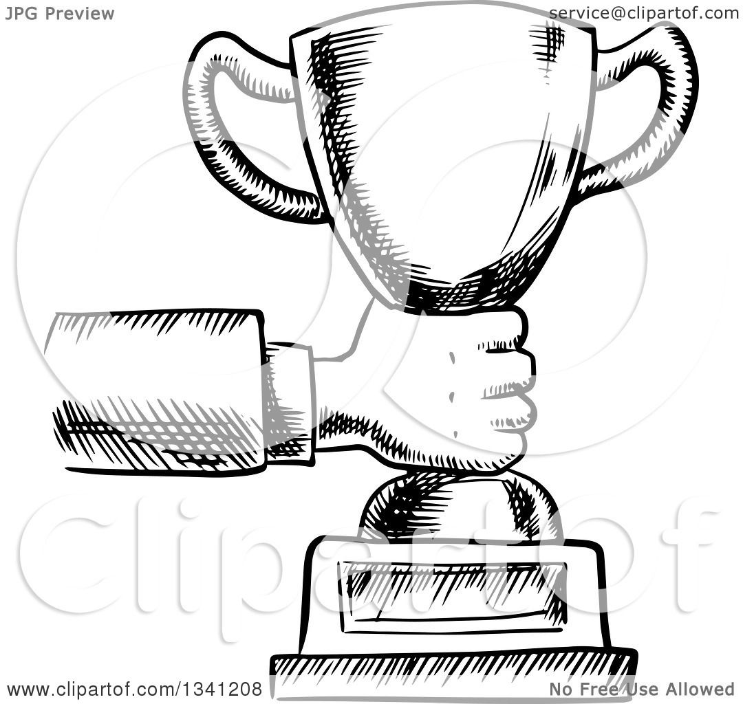 Clipart Of A Black And White Sketched Hand Holding Out A