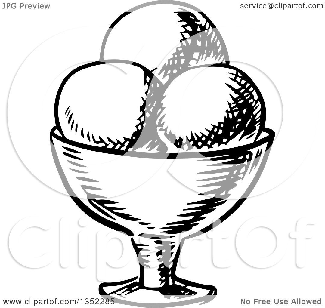 Clipart Of A Black And White Sketched Ice Cream Sundae