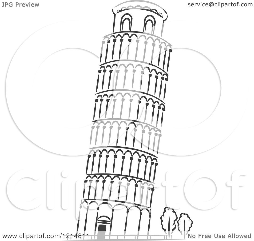 Clipart Of A Black And White Sketched Leaning Tower Of