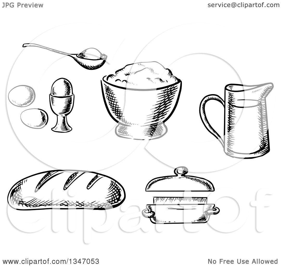 Clipart Of A Black And White Sketched Loaf Of Bread Eggs