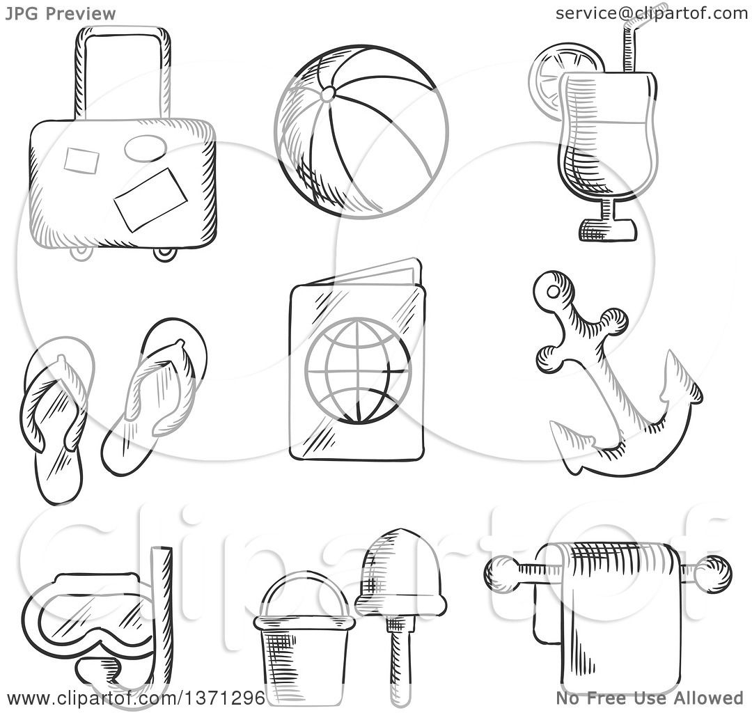Clipart Of A Black And White Sketched Luggage Beach Ball