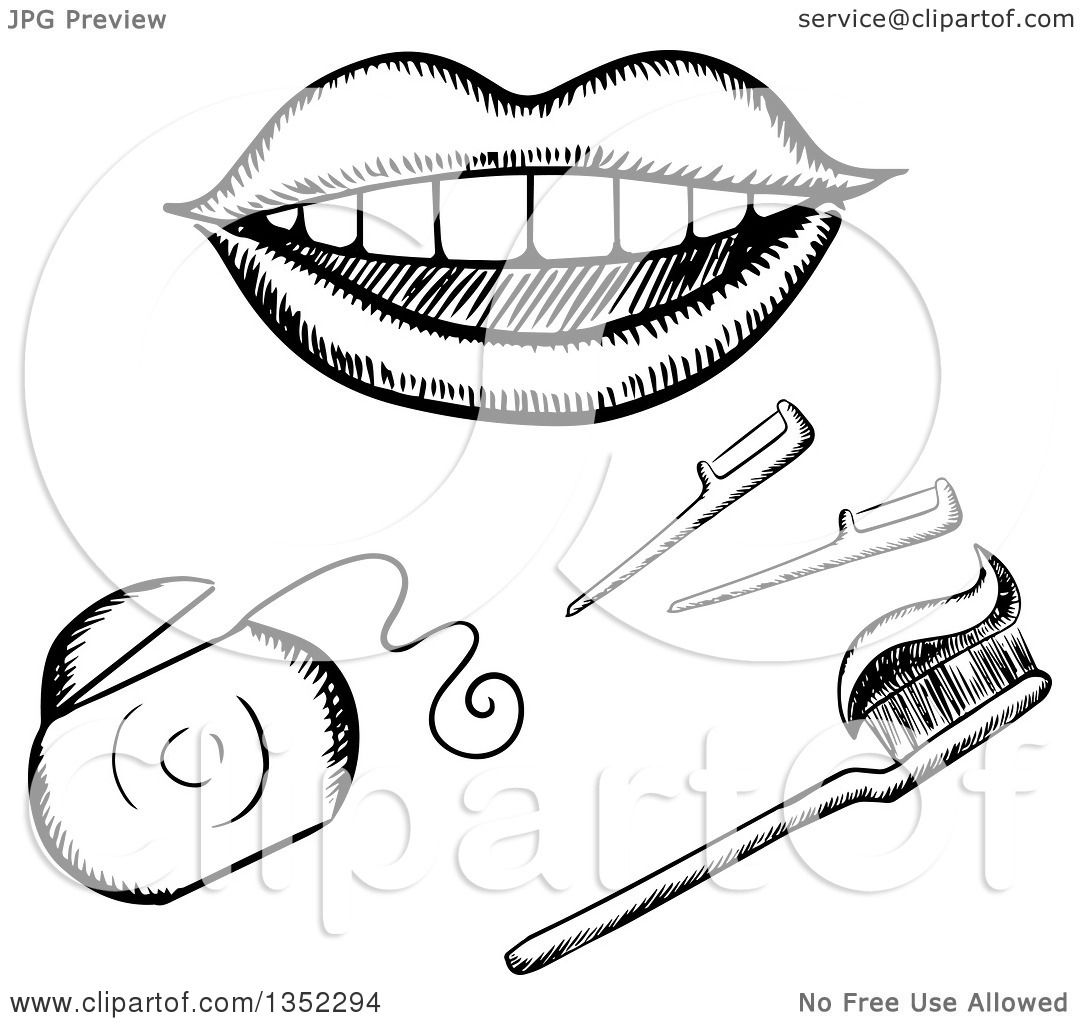 Toothbrush Black And Clip White Art
