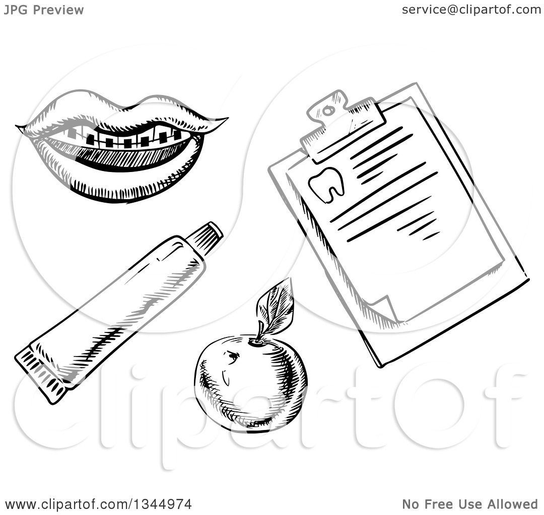 Clipart Of A Black And White Sketched Mouth With Braces