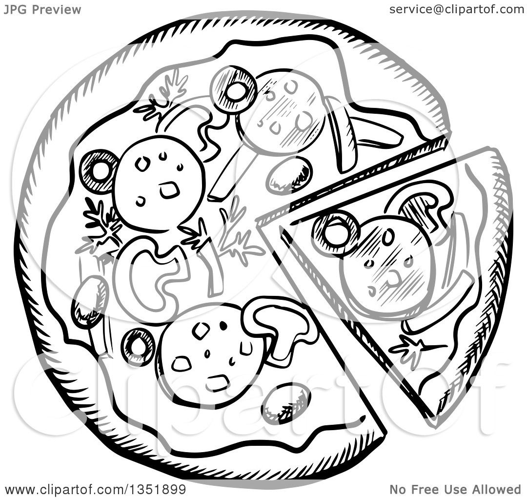 Clipart Of A Black And White Sketched Pizza Pie