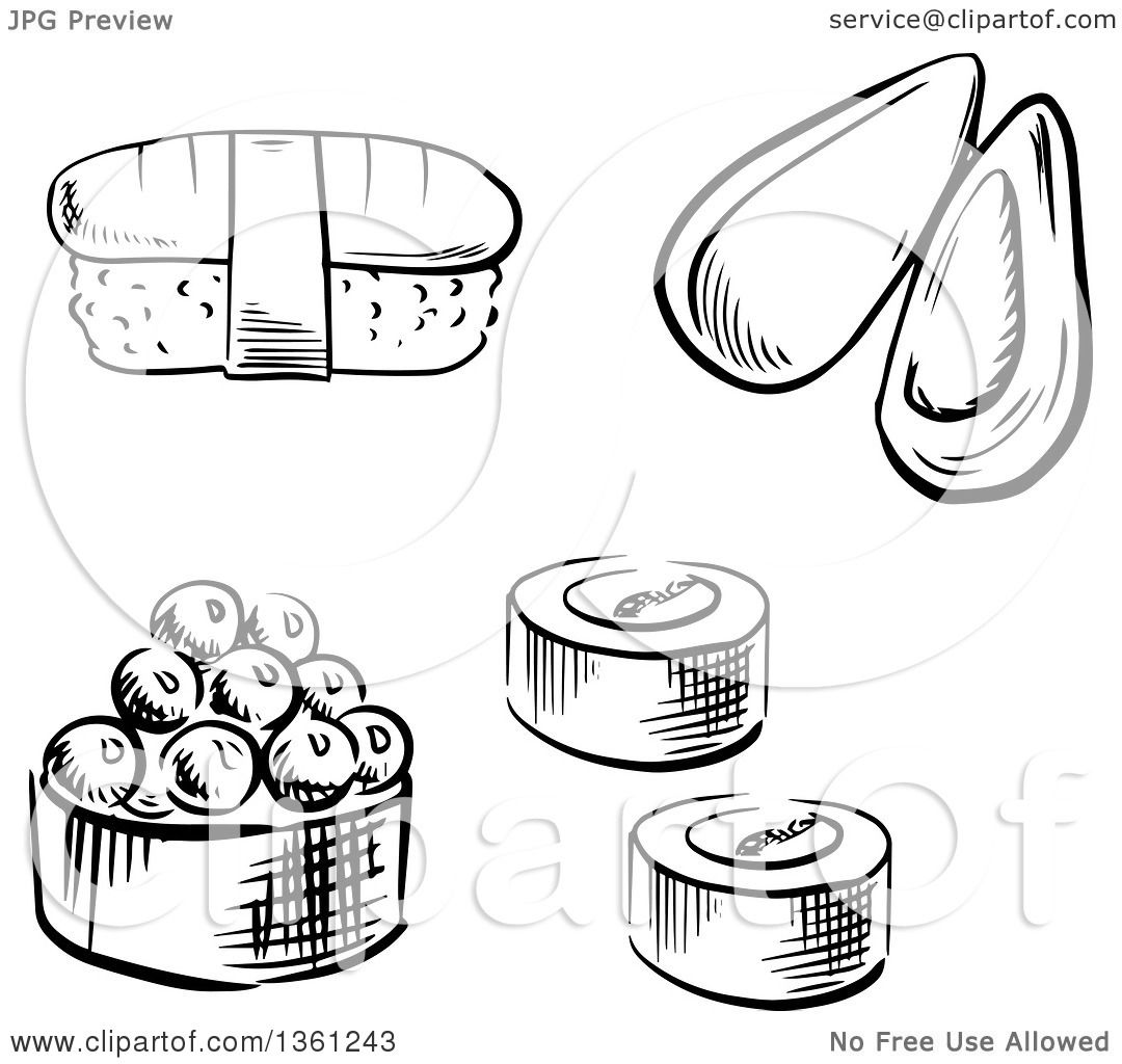 Clipart Of A Black And White Sketched Sea Mussel Sushi