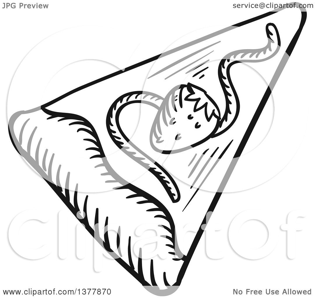Clipart Of A Black And White Sketched Slice Of Dessert