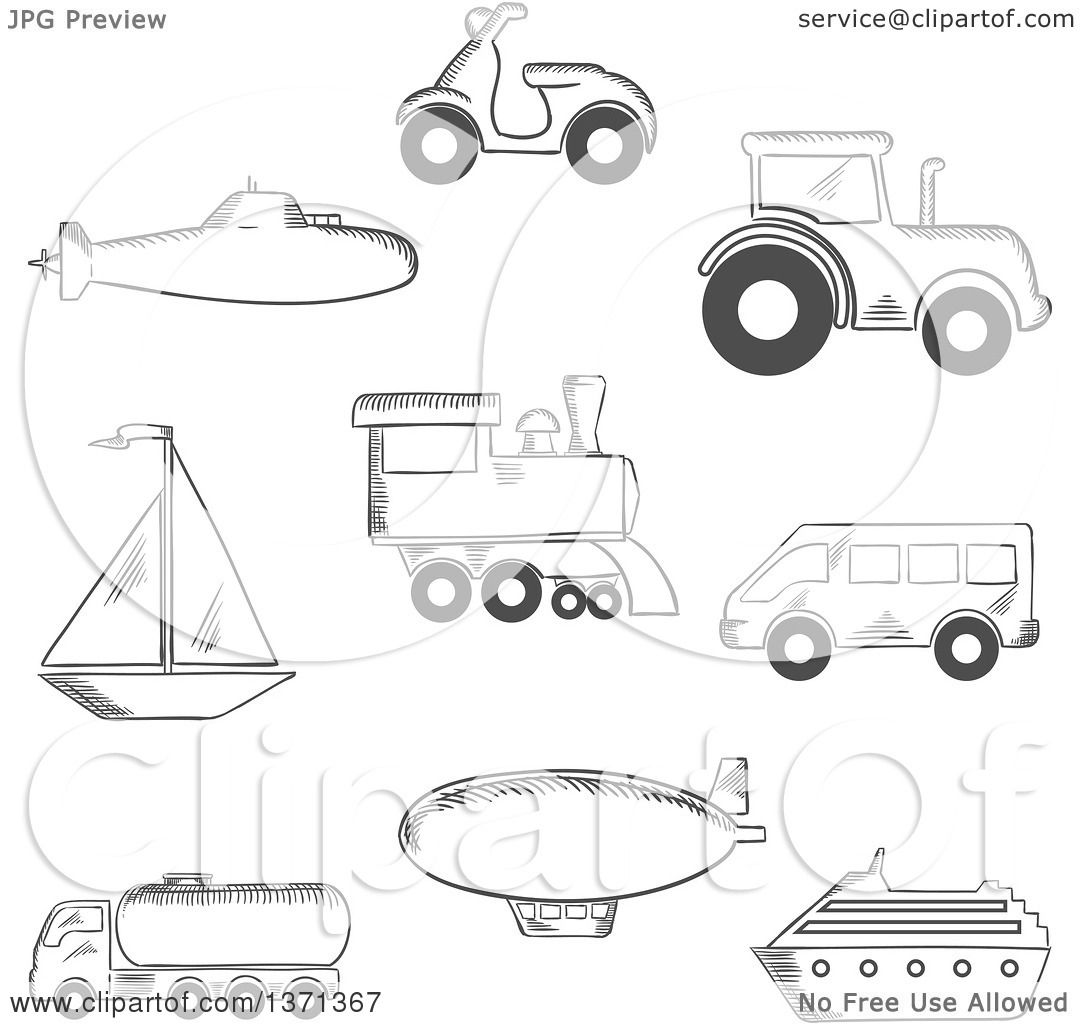Clipart Of A Black And White Sketched Submarine Yacht