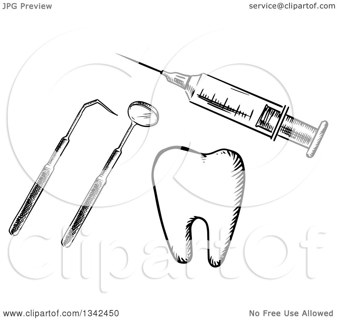 Clipart Of A Black And White Sketched Vaccine Syringe