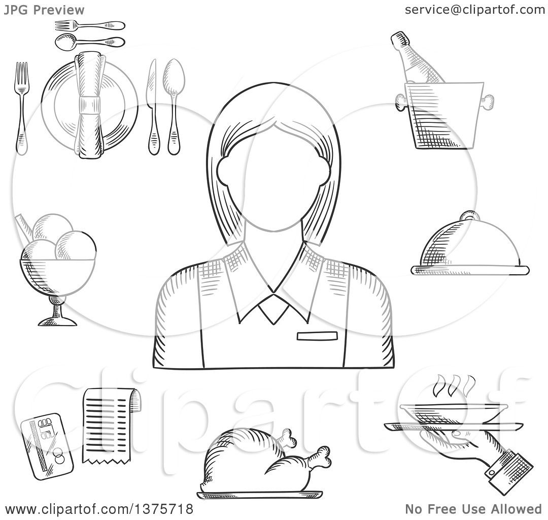 Clipart Of A Black And White Sketched Waitress In Elegant Uniform Surrounded By Dinner Set