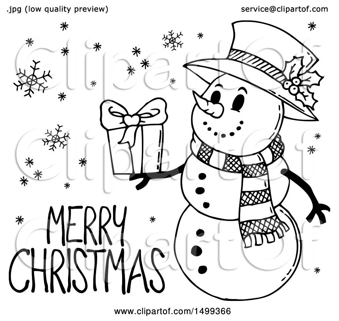 Clipart Of A Black And White Snowman With A Merry