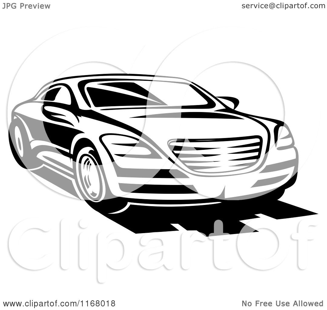 Clipart Of A Black And White Sports Car