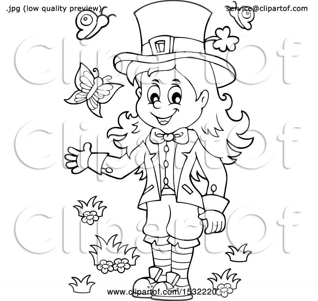 Clipart Of A Black And White St Patricks Day Female