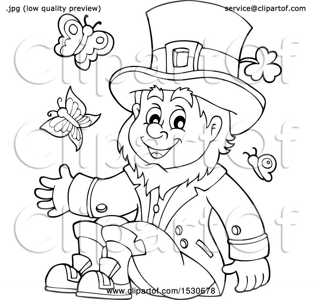 Clipart Of A Black And White St Patricks Day Leprechaun