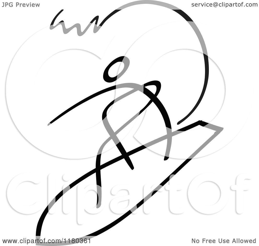 Clipart Of A Black And White Stick Drawing Of A Surfer