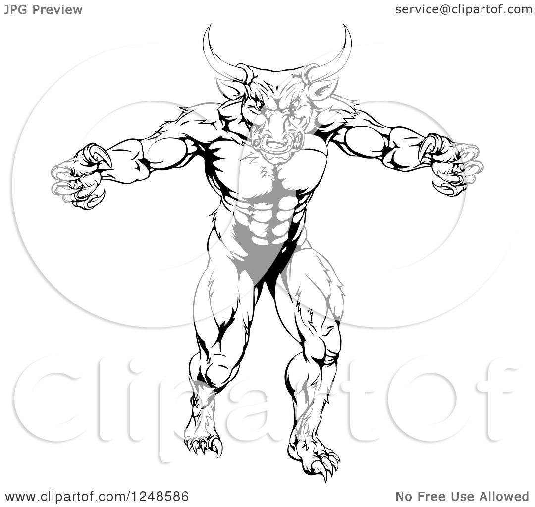 Clipart Of A Black And White Strong Minotaur Mascot