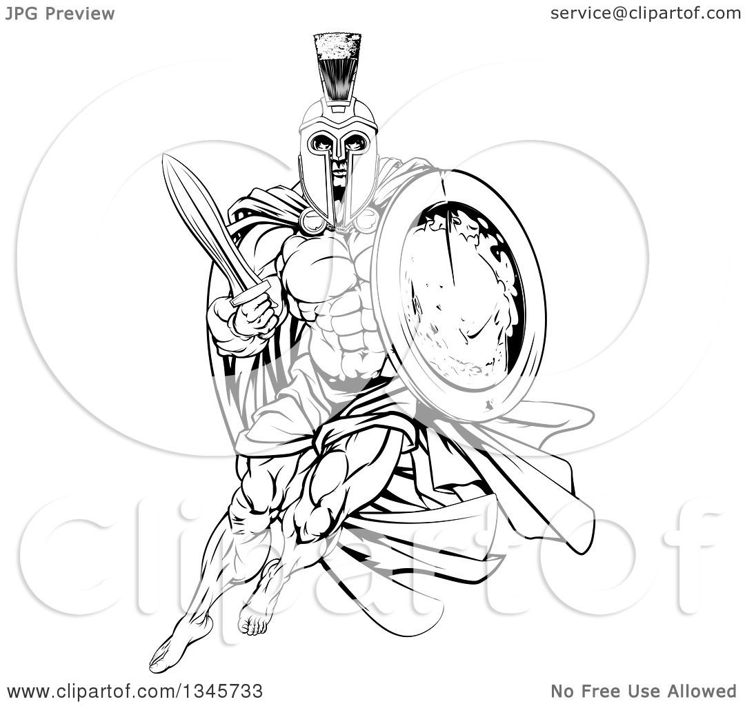 Clipart Of A Black And White Strong Spartan Trojan Warrior