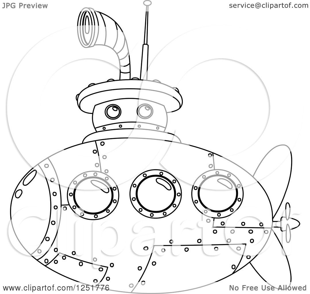 Clipart Of A Black And White Submarine