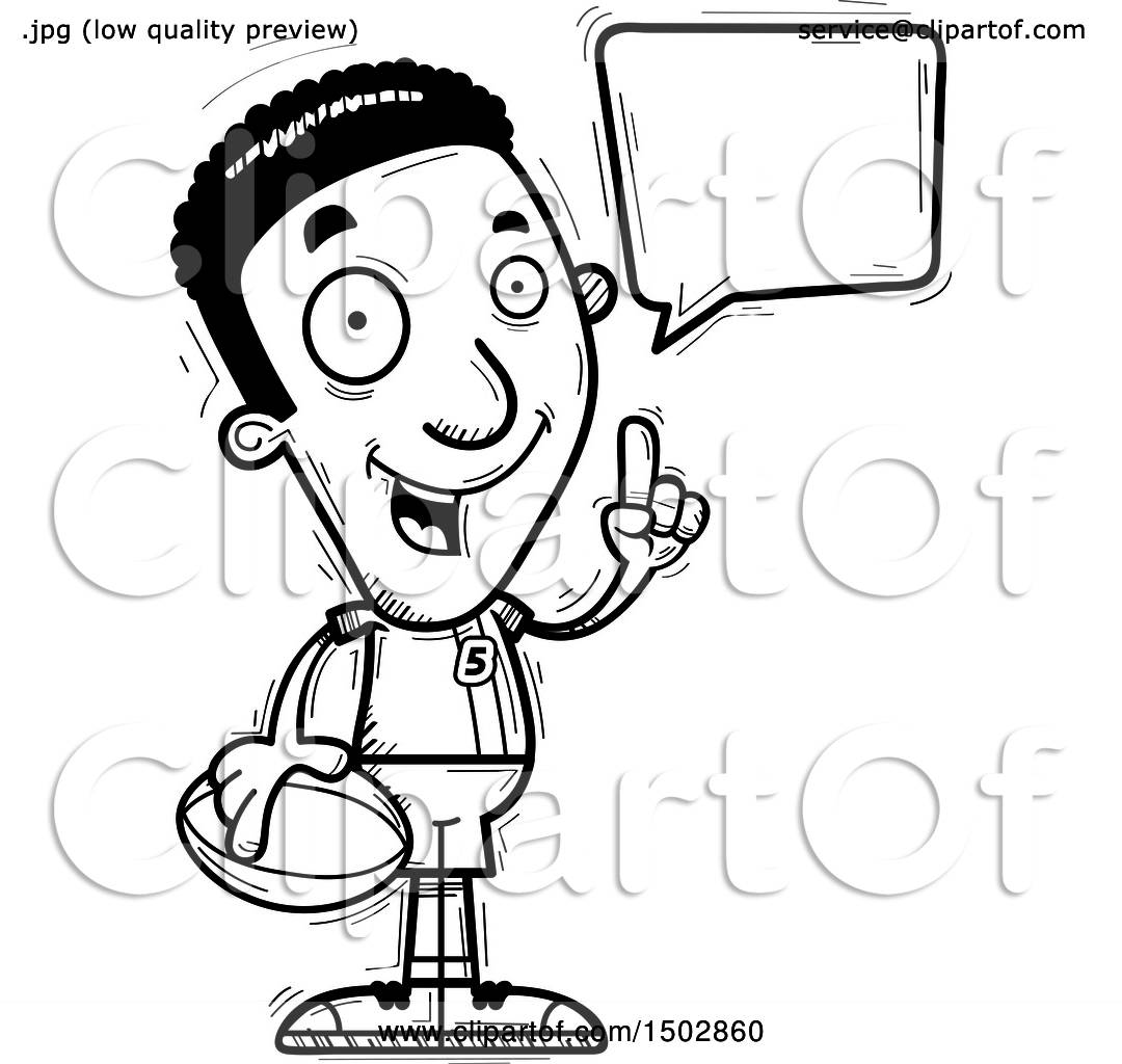 Clipart Of A Black And White Talking Black Male Rugby