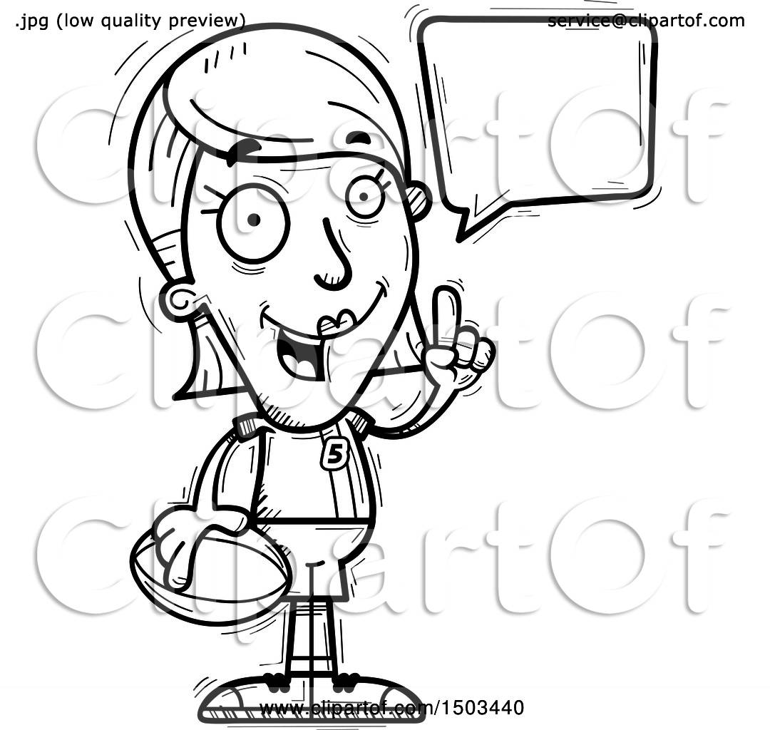 Clipart Of A Black And White Talking White Female Rugby