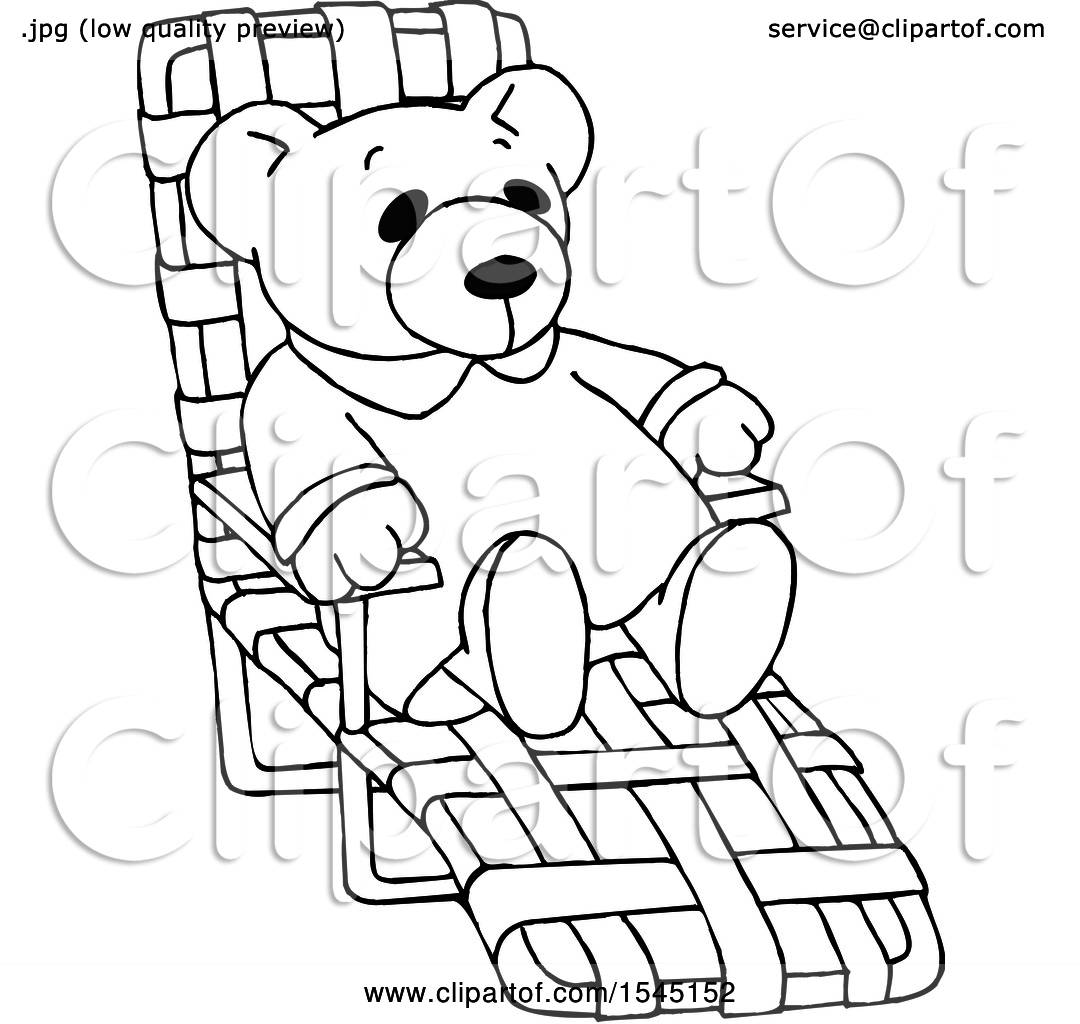 Clipart Of A Black And White Teddy Bear Relaxing On A