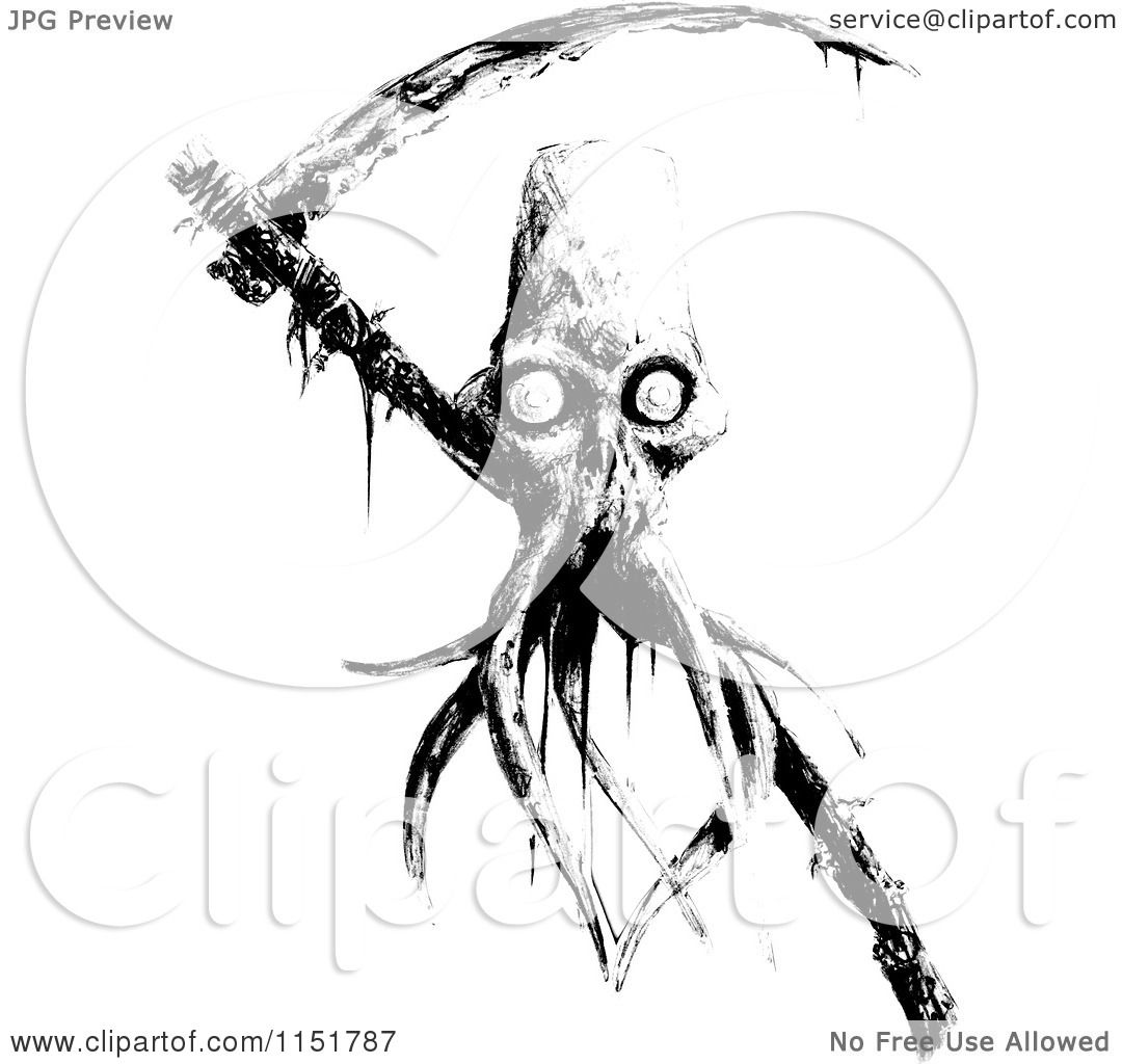 Clipart Of A Black And White Tentacled Grim Reaper Skull