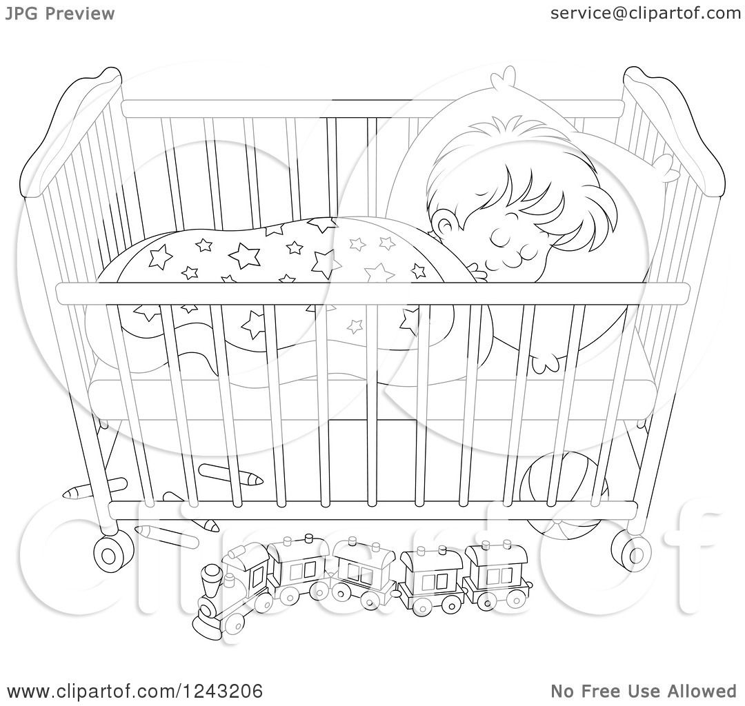 Clipart Of A Black And White Toddler Boy Sleeping In A