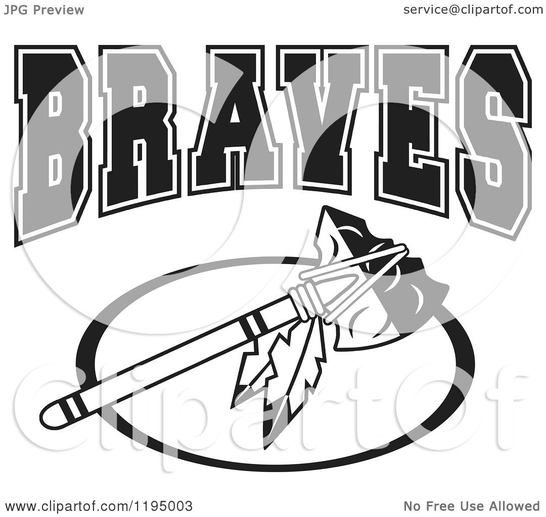 Clipart Of A Black And White Tomahawk With Braves Team