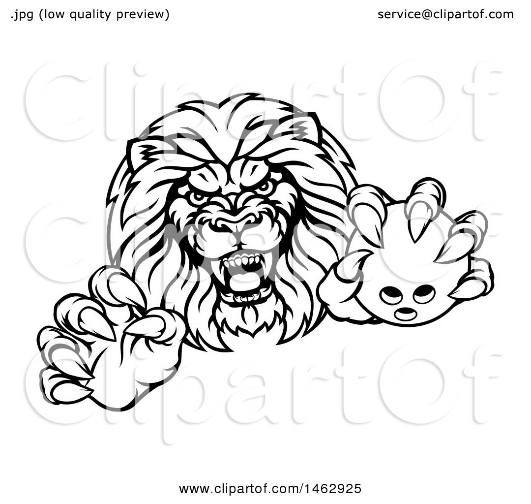 Clipart Of A Black And White Tough Clawed Male Lion