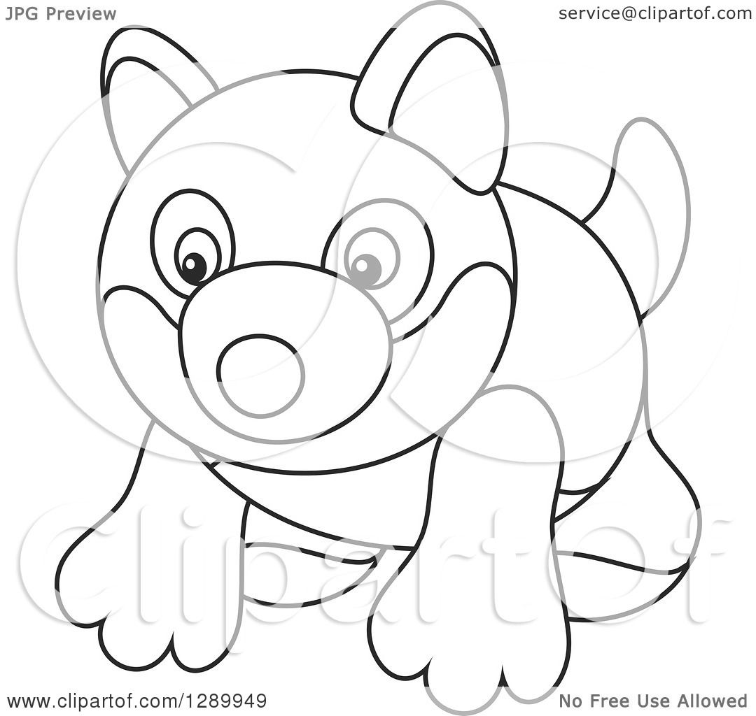 Clipart Of A Black And White Toy Husky Dog