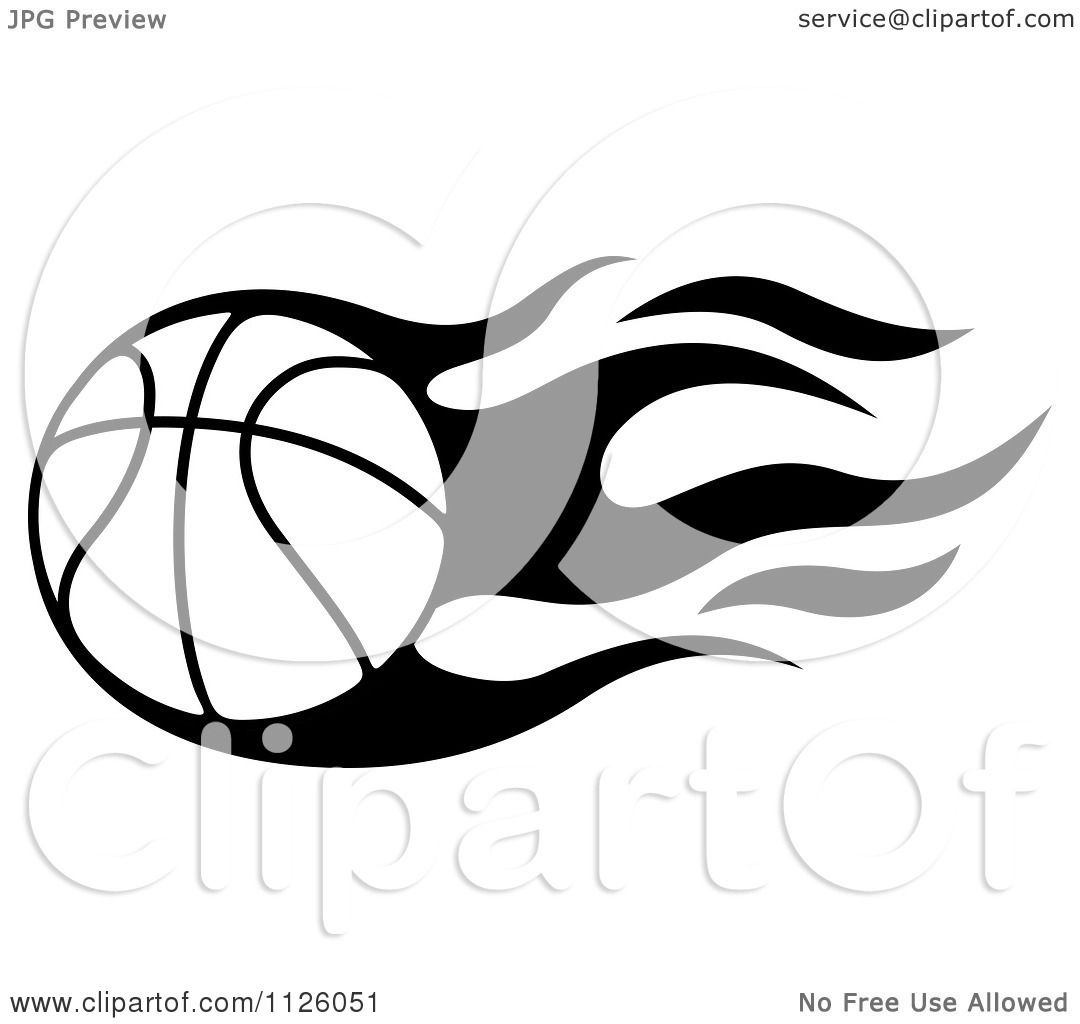 Clipart Of A Black And White Tribal Flaming Basketball 1