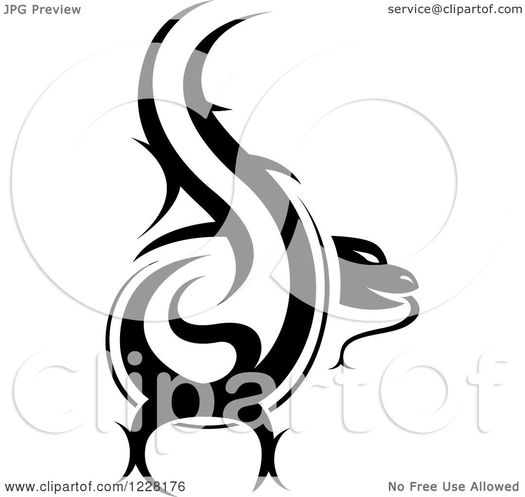 Clipart Of A Black And White Tribal Lizard Tattoo Design
