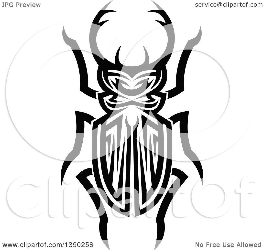 Clipart Of A Black And White Tribal Styled Stag Beetle