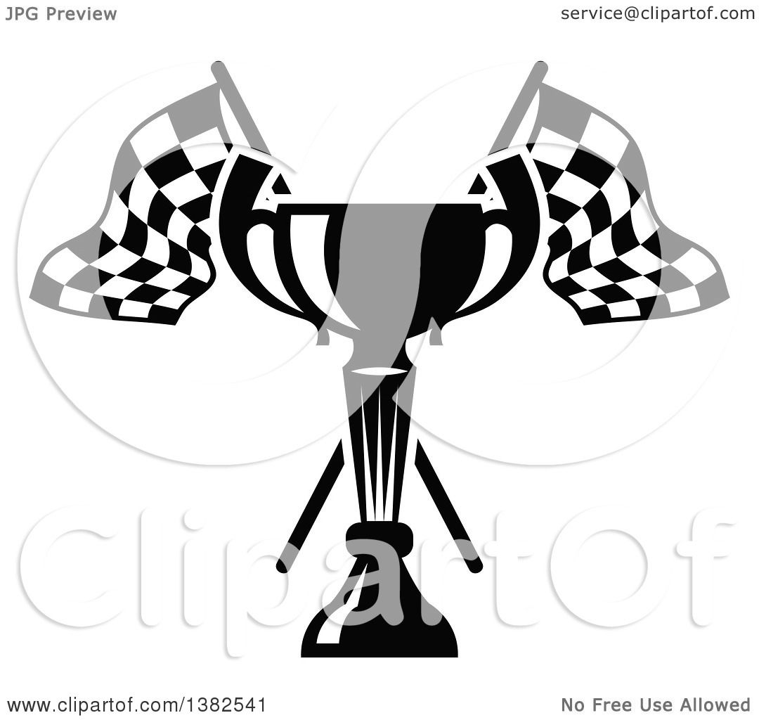 Clipart Of A Black And White Trophy And Crossed Checkered
