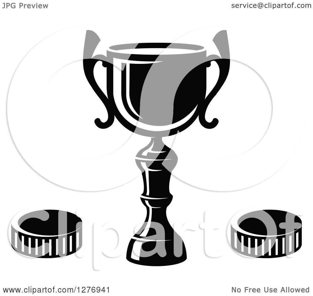 Clipart Of A Black And White Trophy Cup And Hockey Pucks