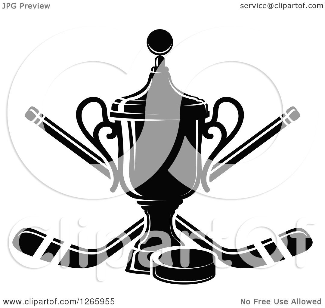 Clipart Of A Black And White Trophy With A Hockey Puck And