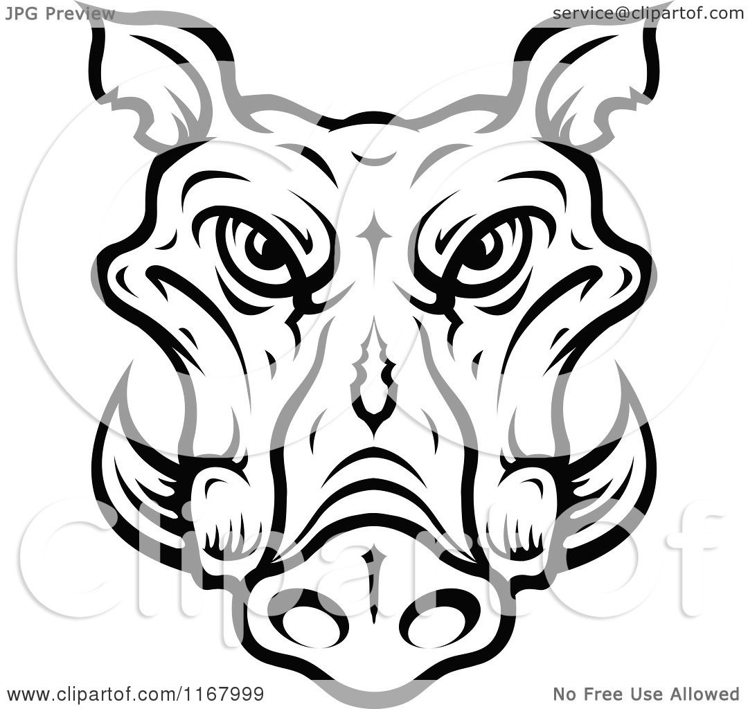 Clipart Of A Black And White Tusked Boar Head