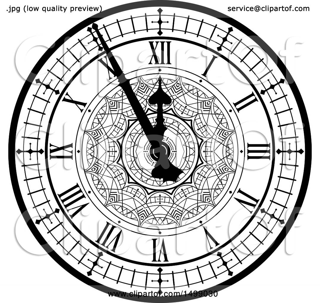 Clipart Of A Black And White Vintage Clock Face